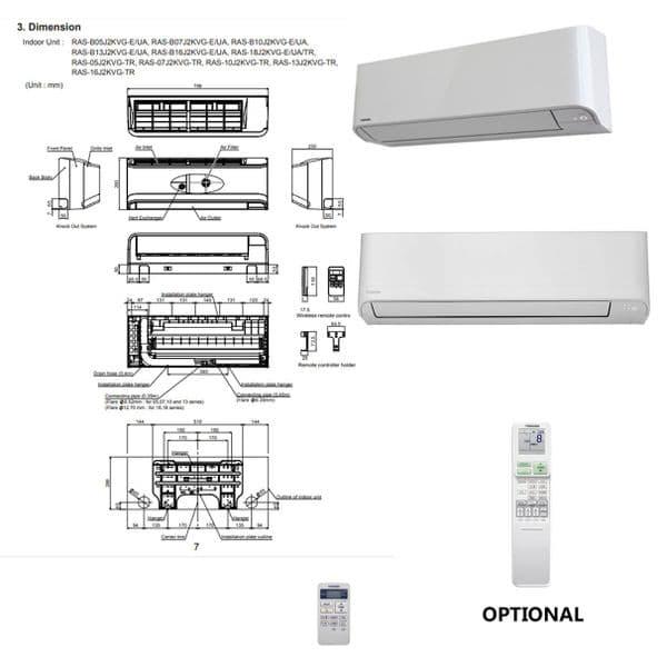 Toshiba Air Conditioning Heat Pump Quiet Wall SEIYA RAS-B24jKVG-E 7Kw/24000Btu A++ R32 240V~50Hz